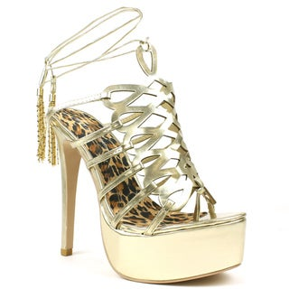 Mark & Maddux Women's 'Crstcage' Gold Laser-cut Cage Sandals