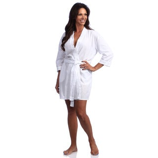 La Cera Cotton Embroidered Wrap Robe