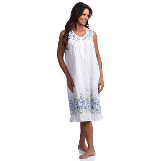La Cera Women's Cotton Floral Print Gown