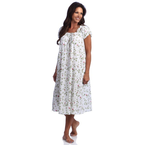 La Cera Women's Cotton Print Gown Mint