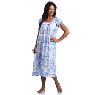 La Cera Women's Cotton Print Gown Blue