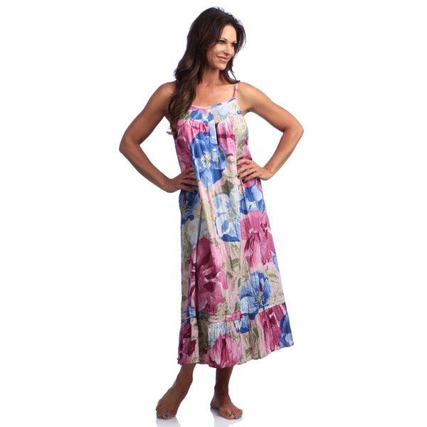 La Cera Women's Mauve Cotton Print Chemise