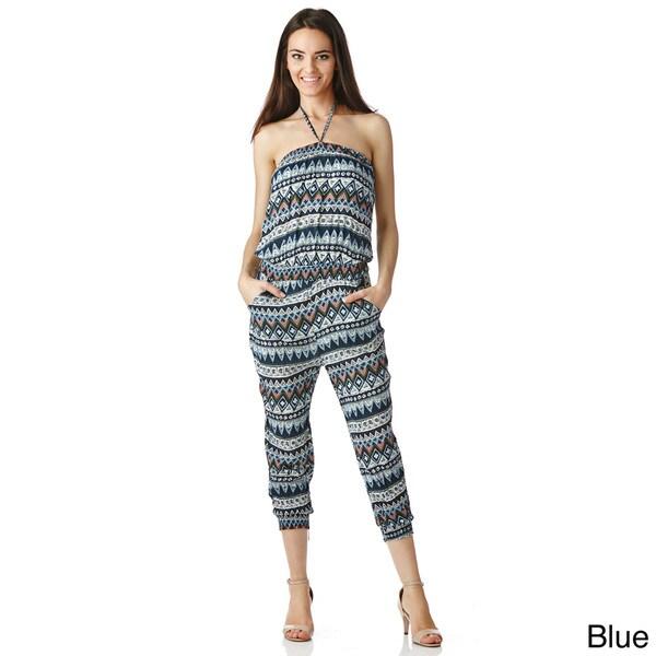 Stanzino Women's Halter Aztec Print Jumpsuit