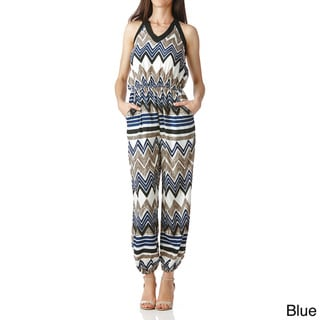 Stanzino Women's Smocked Multi-print Jumpsuit