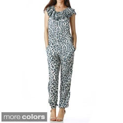 Stanzino Women's Animal Print Ruffled Jumpsuit