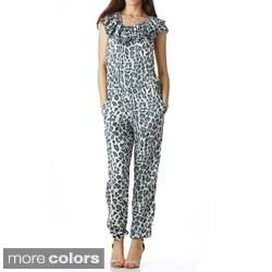 Stanzino Women's Animal Print Ruffled Jumpsuit