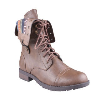 Refresh Women's 'Terra-06' Taupe Lace-up Combat Boots