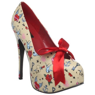 Pinup Couture Women's 'Teeze-12' Cream Tattoo Print Pumps