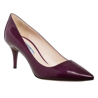 Prada Women's Iris Purple Leather Pointed Toe Pump