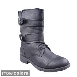 Refresh Women's 'Terra-14' Mid-calf Buckle wrap Boots