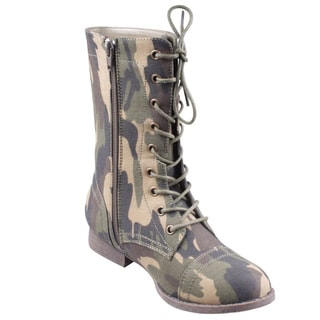 Refresh Women's 'Libby-04' Camouflage Lace-up Combat Boots