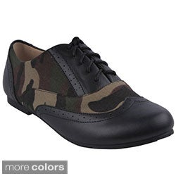 Refresh Women's 'Nikky-04' Camouflage Casual Oxford Shoes
