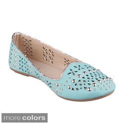 Refresh Women's 'Diana-02' Studded Laser Cut Ballet Flats