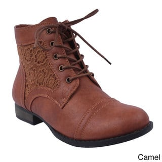 Refresh Women's 'Libby-03' Lace-up Crocheted Combat Boots
