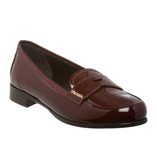Prada Women's Deep Red Patent Leather Loafers