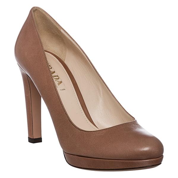 Prada Women's Taupe Leather Round Toe Pump