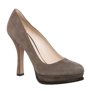 Prada Women's Grey Suede Platform Pumps