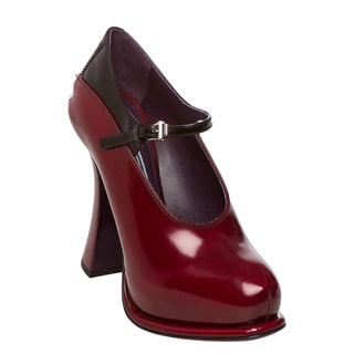 Prada Women's Scarlet Flared Heel Platform Mary Jane Pumps