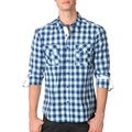 191 Unlimited Mens Slim Fit Blue Gingham Woven Shirt
