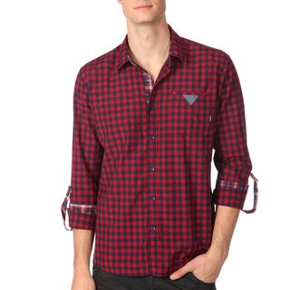 191 Unlimited Men's Slim Fit Red Gingham Plaid Woven Shirt