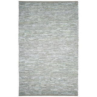 Hand-woven Matador White Leather Rug (10' x 14')
