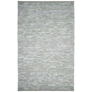 Hand-woven Matador White Leather Rug (10' x 14')