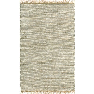 Hand-woven Matador White Leather and Hemp Rug (10' x 14')