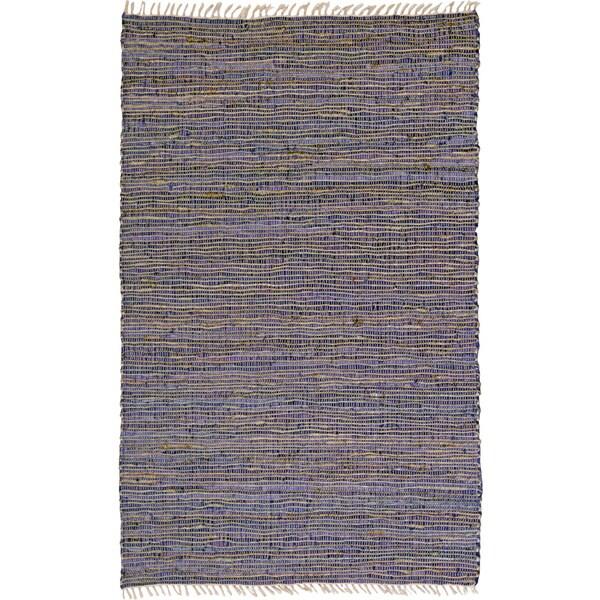 Hand-woven Matador Purple Leather and Hemp Rug (9' x 12')