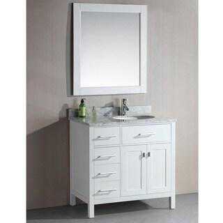 London 36 inch single sink white 4 drawer vanity set in finish