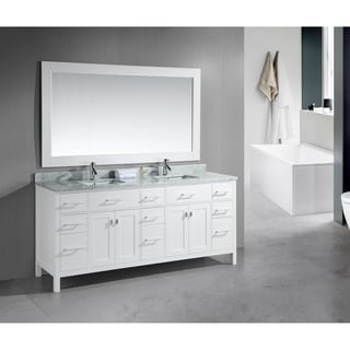 London 78-Inch Double Sink White Vanity Set