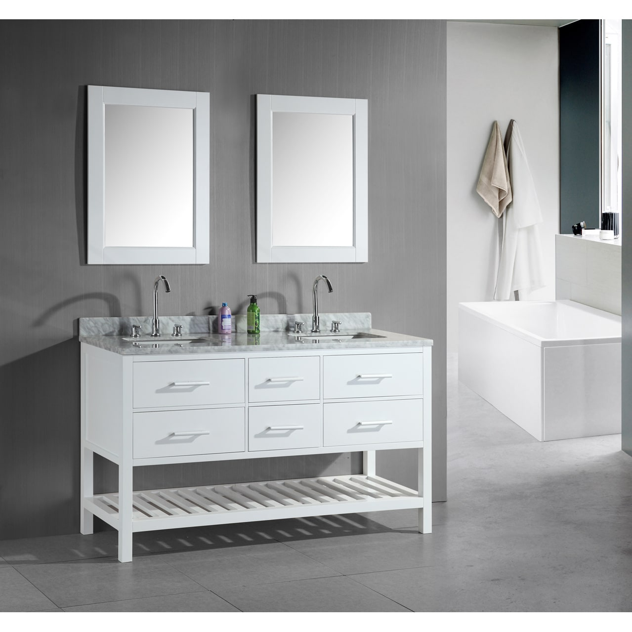 Design Element London 60-Inch Double Sink Bathroom White Vanity Set at Sears.com