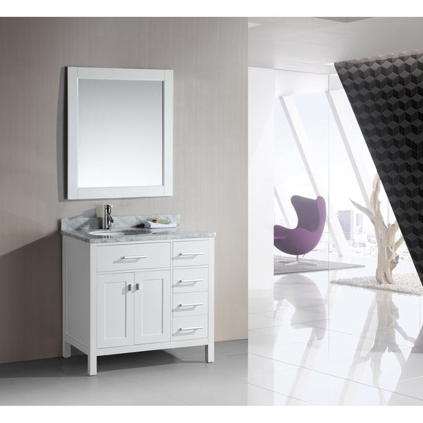 element london 36 inch single sink white vanity set with right drawers