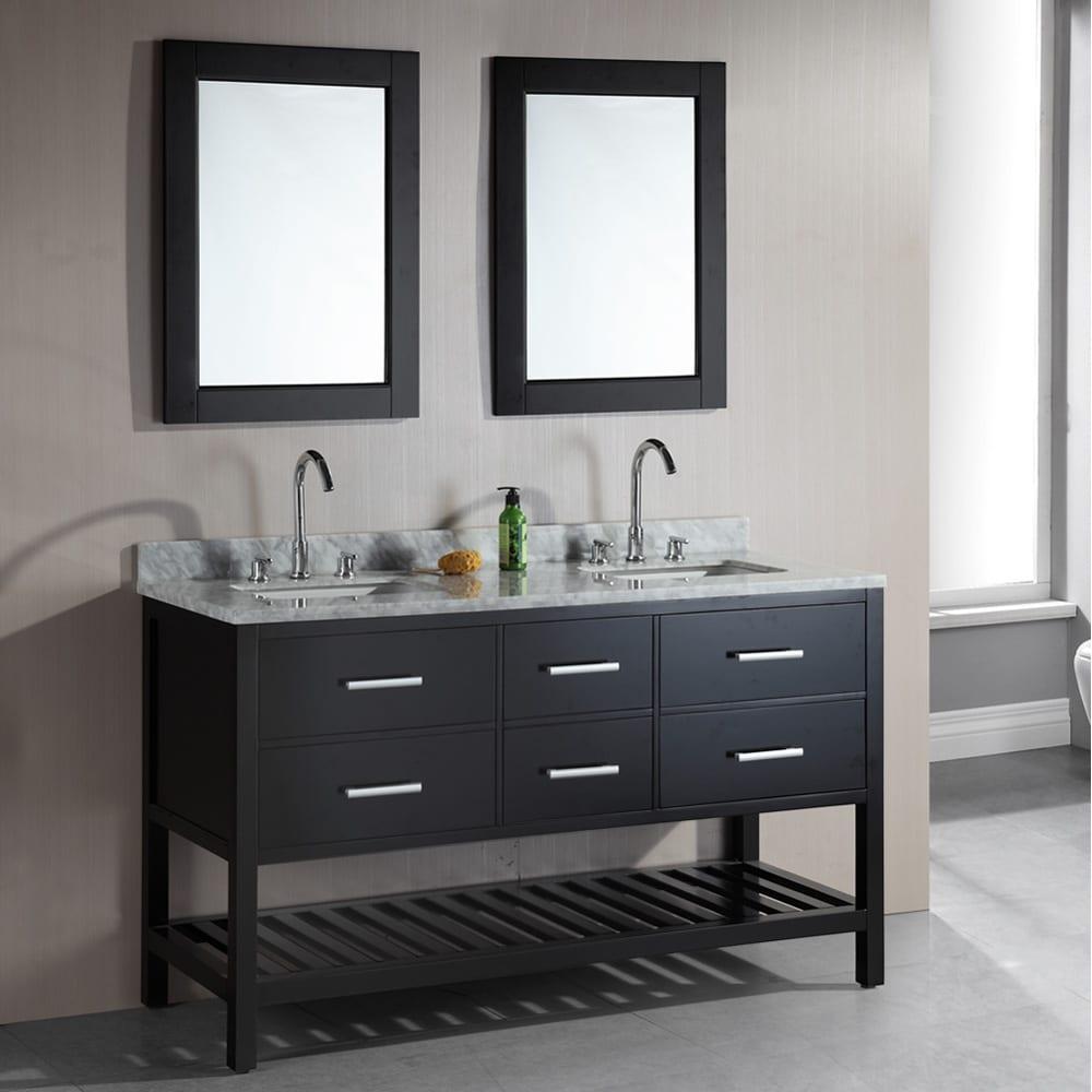 London 61 Inch Double Sink Espresso Bathroom Vanity Set Overstock Shopping Great Deals On