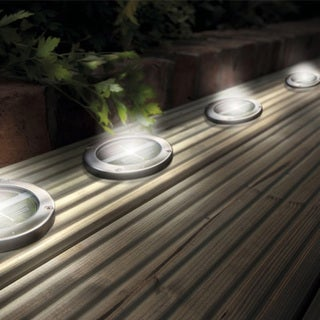Stainless Steel White Solar Deck Lights (Set of 4)
