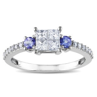 Miadora 14k White Gold 1/2ct TDW Diamond and Tanzanite Ring (H-I, I2-I3)