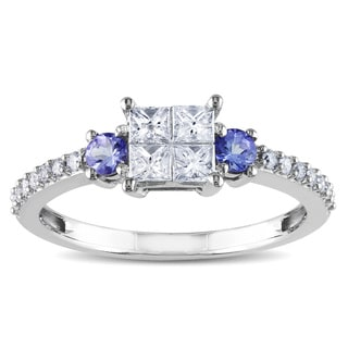 Miadora 14k White Gold 1/2ct TDW Diamond and Tanzanite Ring (H-I, I2-I3) with Bonus Earrings