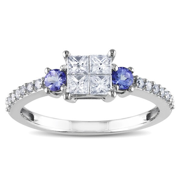 Miadora 14k White Gold 1/2ct TDW Diamond and Tanzanite Ring (H-I, I2-I3)