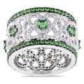 Miadora 14k White Gold 1 1/5ct TDW Diamond and Tsavorite Ring (G-H, SI1-SI2)