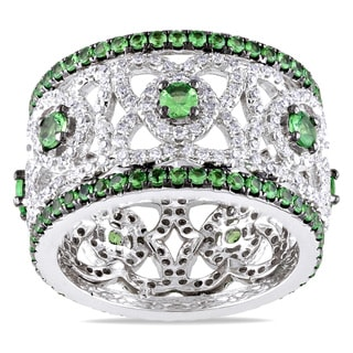 Miadora Signature Collection 14k White Gold 1 1/5ct TDW Diamond and Tsavorite Ring (G-H, SI1-SI2)