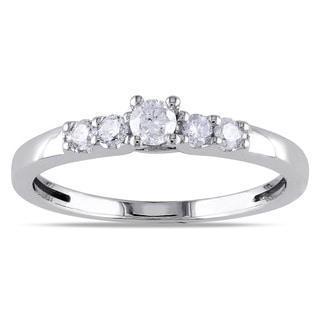 Miadora 10k White Gold 1/4ct TDW 5-Stone Diamond Ring (H-I, I2-I3)