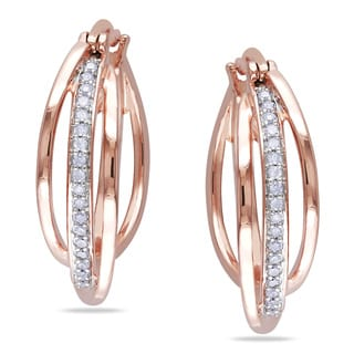 Miadora Rose Plated Silver 1/5ct TDW Diamond Cuff Earrings (H-I, I2-I3)