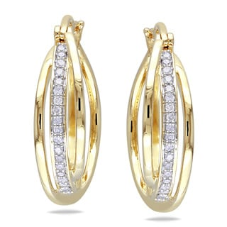 Haylee Jewels Yellow Plated Silver 1/5ct TDW Diamond Cuff Earrings (H-I, I2-I3)