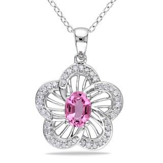 Miadora Sterling Silver Pink Tourmaline 1/5ct Diamond Necklace (H-I, I2-I3)