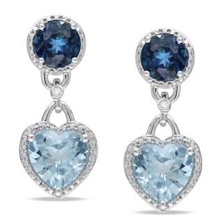 Miadora Sterling Silver Blue Topaz and Diamond Heart Dangle Earrings