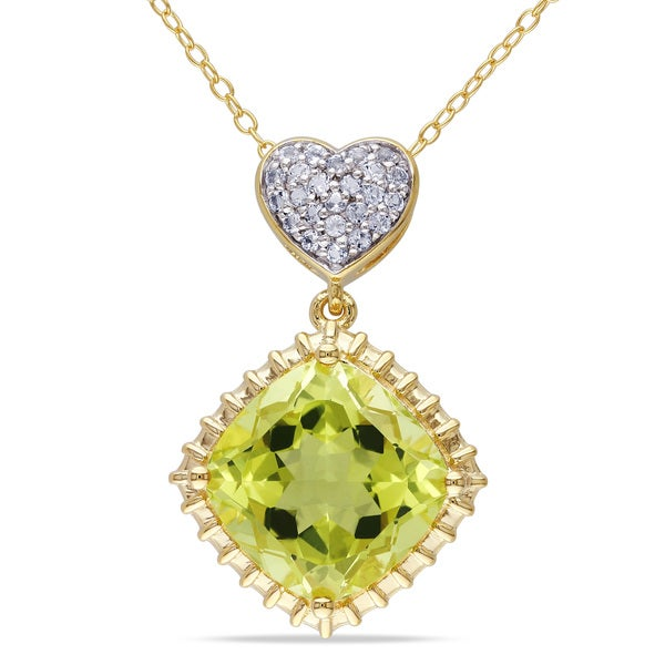 Miadora Yellow Plated Silver Lemon Quartz and White Topaz Necklace