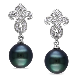 Miadora Sterling Silver Black Tahitian Pearl 1/10ct Diamond Earrings (9-9.5 mm)
