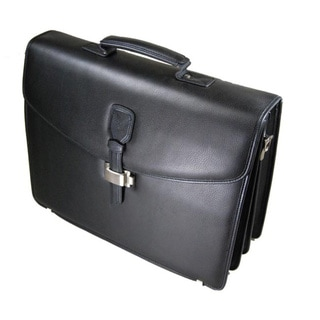 Castello Black Leather Flapover Triple Gusset Briefcase