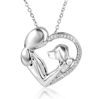 ASPCA Tender Voices Silver 1/8ct TDW Diamond Dog Love Necklace (I-J, I2-I3)