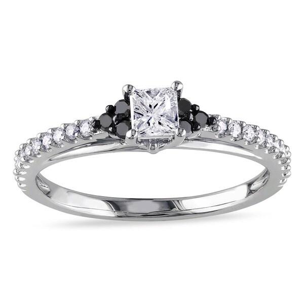 Miadora 10k White Gold 1/2ct TDW Black and White Diamond Engagement Ring