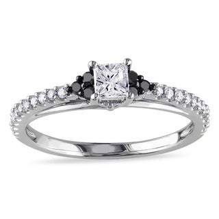 Miadora 10k White Gold 1/2ct TDW Black and White Diamond Engagement Ring